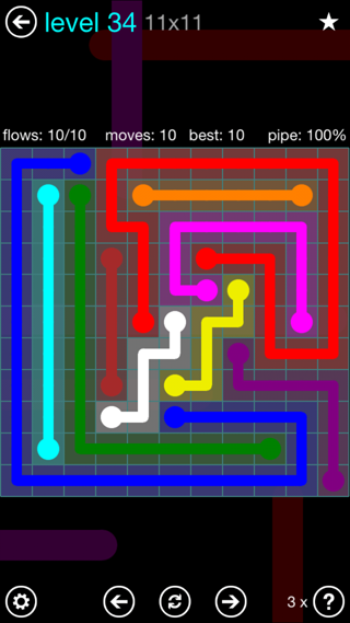 Solution and Answer to the Puzzle for Flow Interval Pack Set 6x6 Level 34