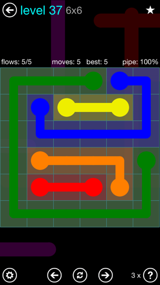Solution and Answer to the Puzzle for Flow Interval Pack Set 6x6 Level 37
