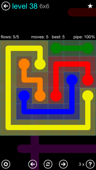 Solution and Answer to the Puzzle for Flow Interval Pack Set 6x6 Level 38
