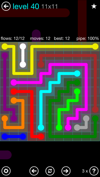 Solution and Answer to the Puzzle for Flow Interval Pack Set 6x6 Level 40