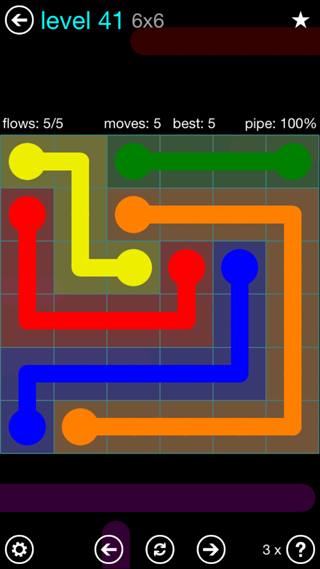 Solution and Answer to the Puzzle for Flow Interval Pack Set 6x6 Level 41