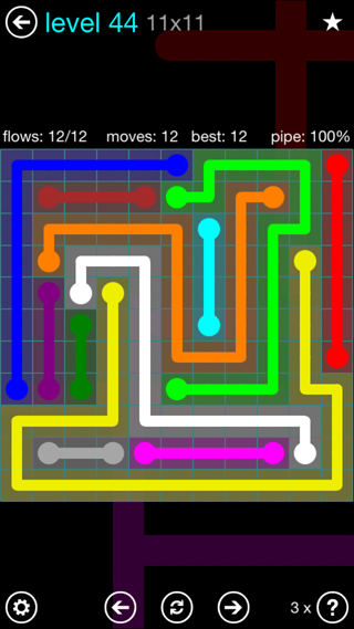 Solution and Answer to the Puzzle for Flow Interval Pack Set 6x6 Level 44