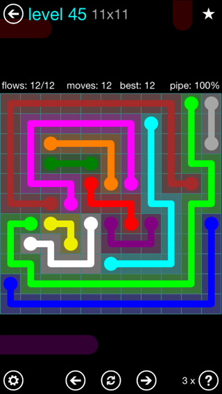 Solution and Answer to the Puzzle for Flow Interval Pack Set 6x6 Level 45