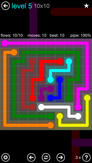 Solution and Answer to the Puzzle for Flow Interval Pack Set 6x6 Level 5
