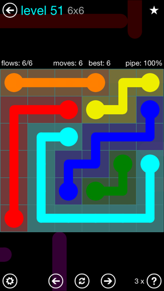 Solution and Answer to the Puzzle for Flow Interval Pack Set 6x6 Level 51