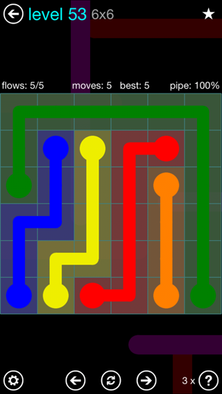 Solution and Answer to the Puzzle for Flow Interval Pack Set 6x6 Level 53
