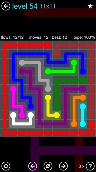 Solution and Answer to the Puzzle for Flow Interval Pack Set 6x6 Level 54