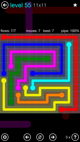 Solution and Answer to the Puzzle for Flow Interval Pack Set 6x6 Level 55