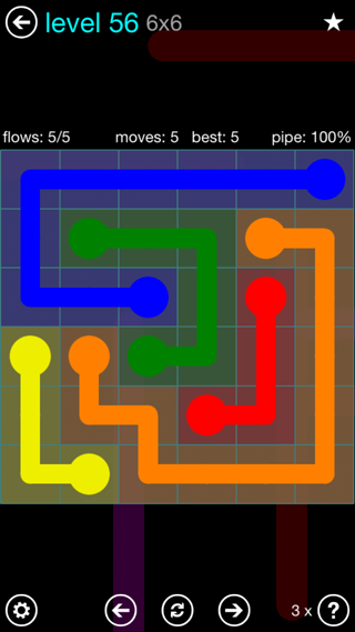 Solution and Answer to the Puzzle for Flow Interval Pack Set 6x6 Level 56