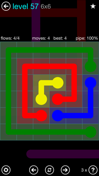 Solution and Answer to the Puzzle for Flow Interval Pack Set 6x6 Level 57