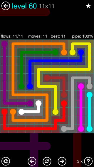 Solution and Answer to the Puzzle for Flow Interval Pack Set 6x6 Level 60