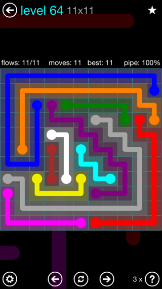 Solution and Answer to the Puzzle for Flow Interval Pack Set 6x6 Level 64