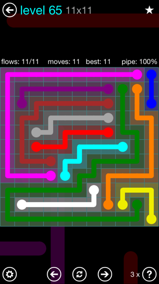 Solution and Answer to the Puzzle for Flow Interval Pack Set 6x6 Level 65