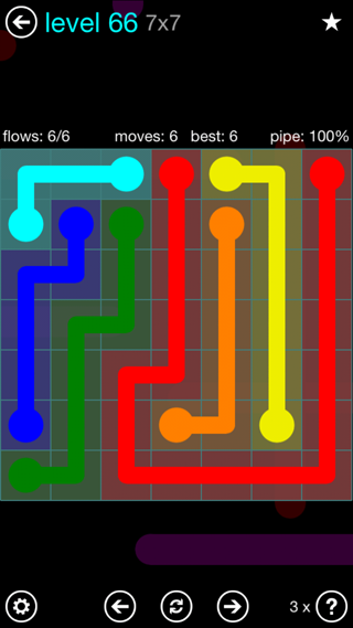 Solution and Answer to the Puzzle for Flow Interval Pack Set 6x6 Level 66