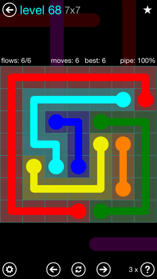 Solution and Answer to the Puzzle for Flow Interval Pack Set 6x6 Level 68