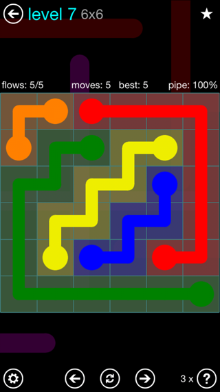 Solution and Answer to the Puzzle for Flow Interval Pack Set 6x6 Level 7