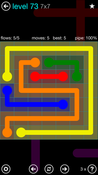 Solution and Answer to the Puzzle for Flow Interval Pack Set 6x6 Level 73