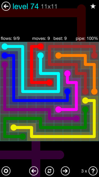 Solution and Answer to the Puzzle for Flow Interval Pack Set 6x6 Level 74