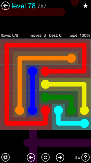 Solution and Answer to the Puzzle for Flow Interval Pack Set 6x6 Level 78