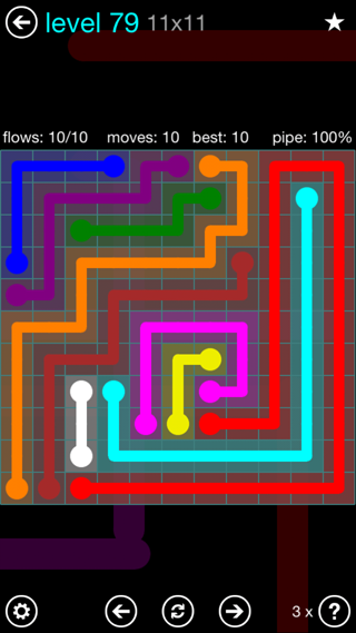 Solution and Answer to the Puzzle for Flow Interval Pack Set 6x6 Level 79