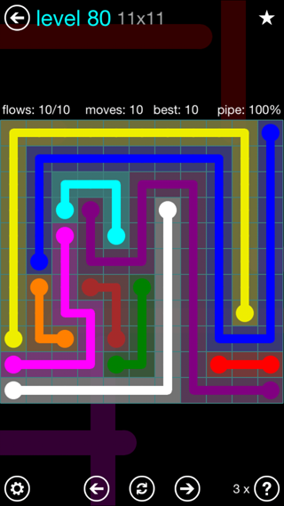 Solution and Answer to the Puzzle for Flow Interval Pack Set 6x6 Level 80