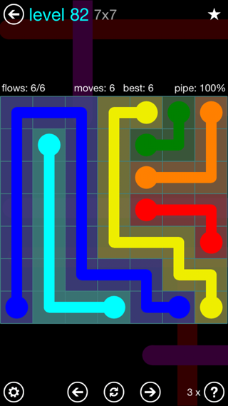 Solution and Answer to the Puzzle for Flow Interval Pack Set 6x6 Level 82