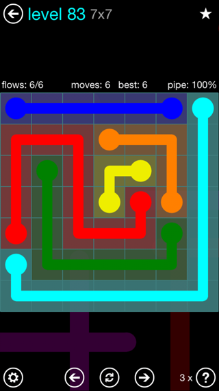Solution and Answer to the Puzzle for Flow Interval Pack Set 6x6 Level 83