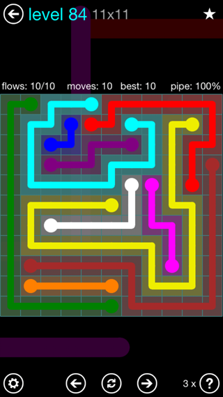Solution and Answer to the Puzzle for Flow Interval Pack Set 6x6 Level 84