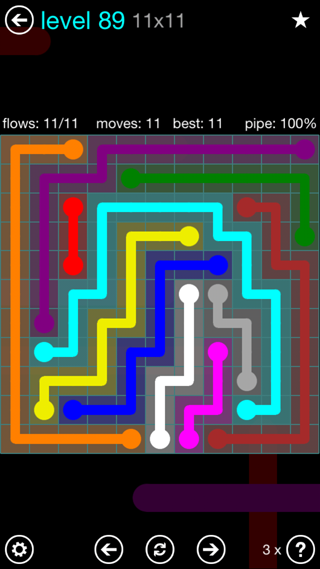 Solution and Answer to the Puzzle for Flow Interval Pack Set 6x6 Level 89
