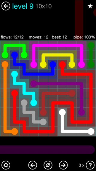 Solution and Answer to the Puzzle for Flow Interval Pack Set 6x6 Level 9
