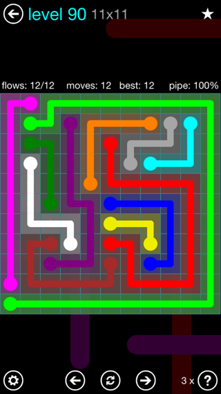 Solution and Answer to the Puzzle for Flow Interval Pack Set 6x6 Level 90
