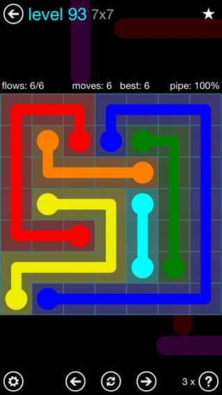 Solution and Answer to the Puzzle for Flow Interval Pack Set 6x6 Level 93