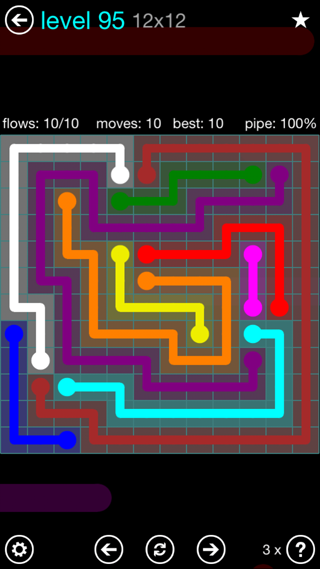 Solution and Answer to the Puzzle for Flow Interval Pack Set 6x6 Level 95