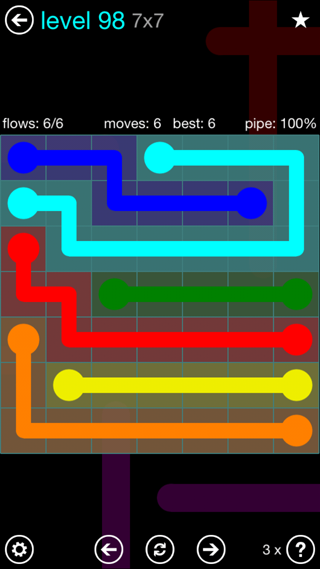 Solution and Answer to the Puzzle for Flow Interval Pack Set 6x6 Level 98