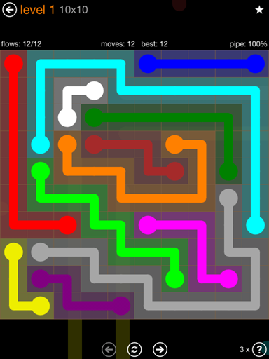 Solution and Answer to the Puzzle for Flow Jumbo Pack Set 10x10 Level 1