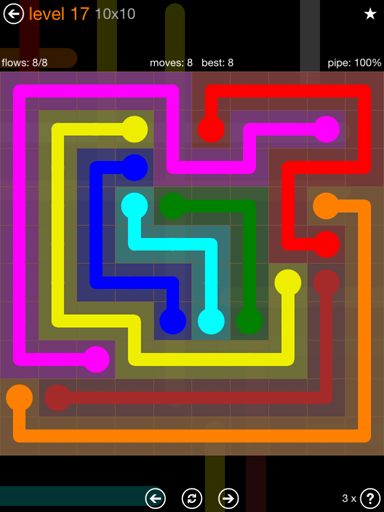 Solution and Answer to the Puzzle for Flow Jumbo Pack Set 10x10 Level 17