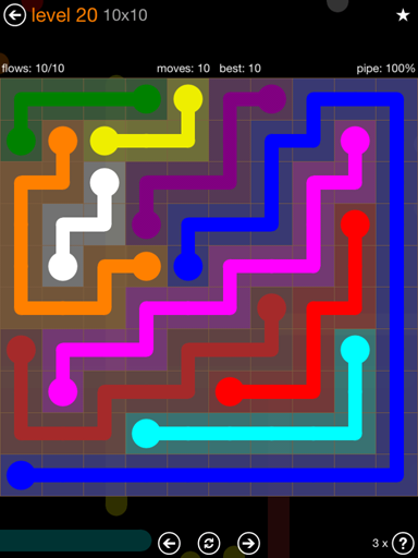 Solution and Answer to the Puzzle for Flow Jumbo Pack Set 10x10 Level 20