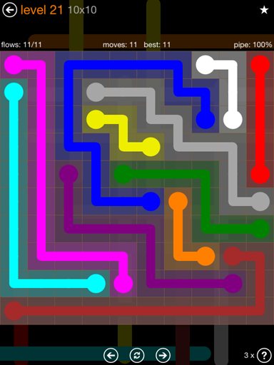 Solution and Answer to the Puzzle for Flow Jumbo Pack Set 10x10 Level 21