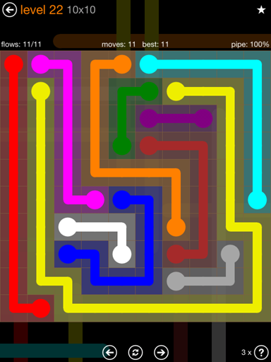 Solution and Answer to the Puzzle for Flow Jumbo Pack Set 10x10 Level 22