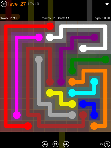 Solution and Answer to the Puzzle for Flow Jumbo Pack Set 10x10 Level 27