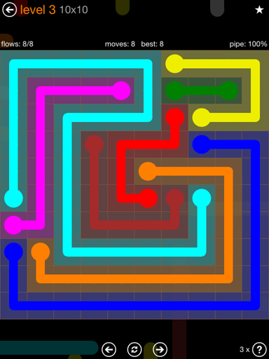 Solution and Answer to the Puzzle for Flow Jumbo Pack Set 10x10 Level 3