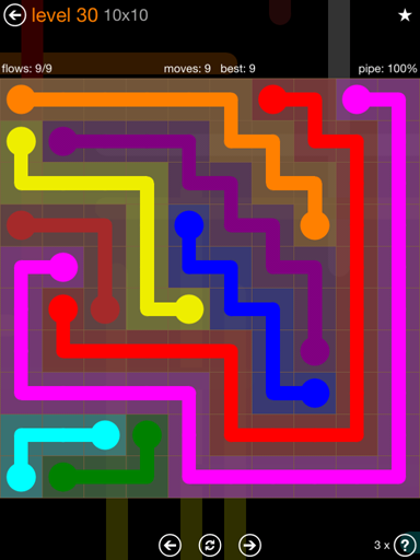 Solution and Answer to the Puzzle for Flow Jumbo Pack Set 10x10 Level 30