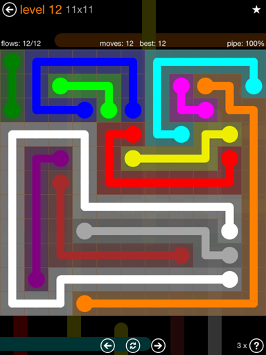 Solution and Answer to the Puzzle for Flow Jumbo Pack Set 11x11 Level 12