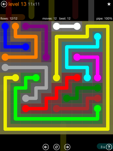 Solution and Answer to the Puzzle for Flow Jumbo Pack Set 11x11 Level 13