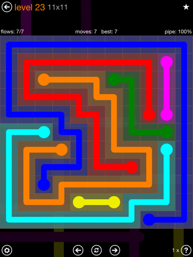 Solution and Answer to the Puzzle for Flow Jumbo Pack Set 11x11 Level 23