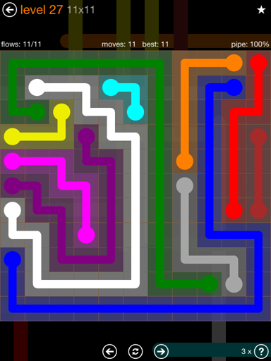 Solution and Answer to the Puzzle for Flow Jumbo Pack Set 11x11 Level 27