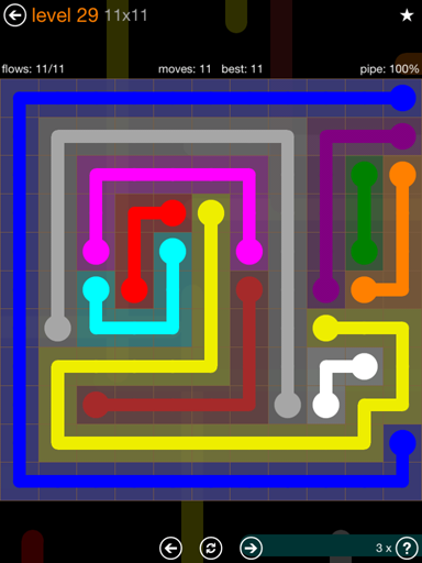 Solution and Answer to the Puzzle for Flow Jumbo Pack Set 11x11 Level 29