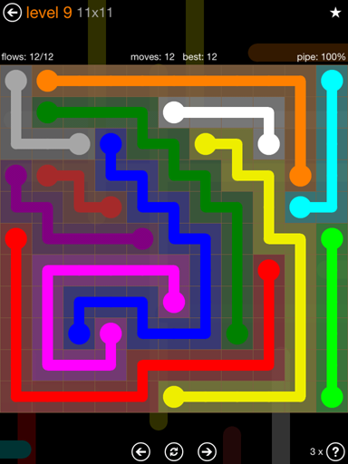 Solution and Answer to the Puzzle for Flow Jumbo Pack Set 11x11 Level 9