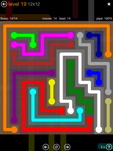 Solution and Answer to the Puzzle for Flow Jumbo Pack Set 12x12 Level 19