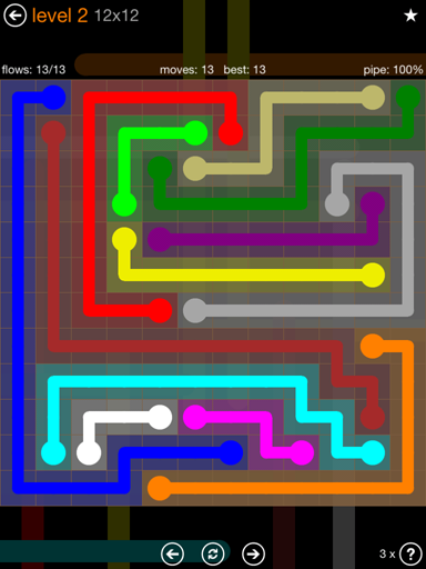Solution and Answer to the Puzzle for Flow Jumbo Pack Set 12x12 Level 2